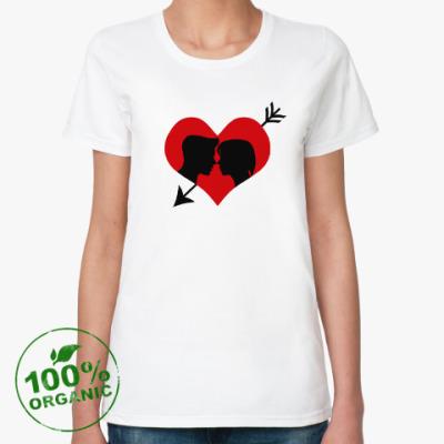 Женская футболка из органик-хлопка Сердце хочет любви