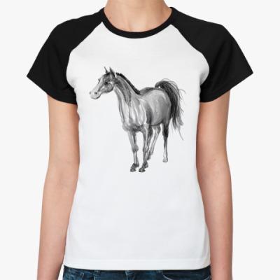 Женская футболка реглан Лошадь