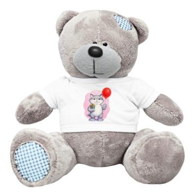 Плюшевый мишка Тедди Кот и воздушный шарик
