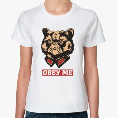 Классическая футболка Obey the kitty.