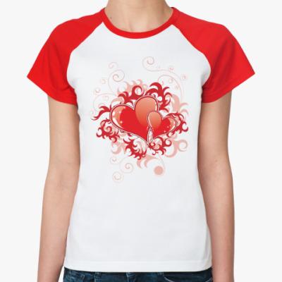 Женская футболка реглан Два сердца
