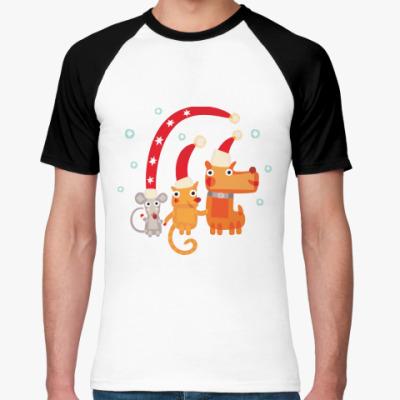 Футболка реглан Крыса, кот и собака