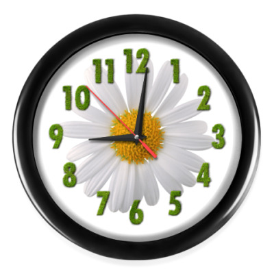 Настенные часы Ромашка и цифры из травы