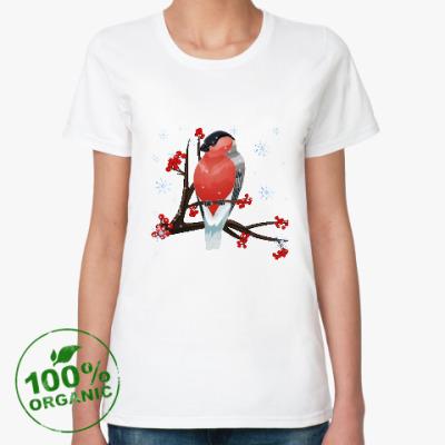 Женская футболка из органик-хлопка Снегирь