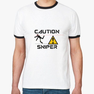 Футболка Ringer-T Caution sniper