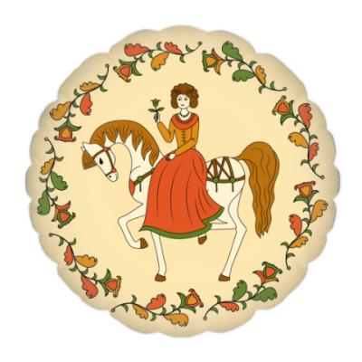 Подушка  Russian folk ornament. Girl and horse