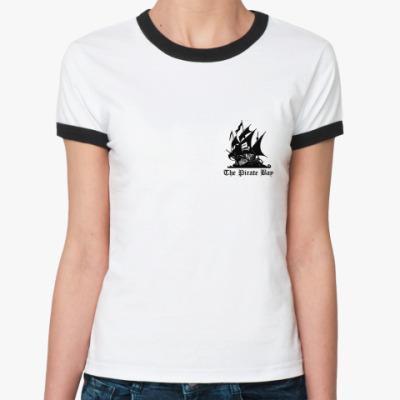 Женская футболка Ringer-T   Pirate Bay
