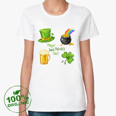 Женская футболка из органик-хлопка Saint Patrick Day sketch