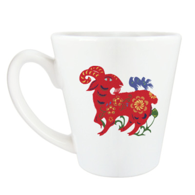 Чашка Латте Баран с цветами и птицами