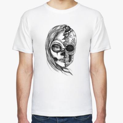 Футболка Зомби девушка, Zombie Girl, Ужасы, Скелет, Лицо