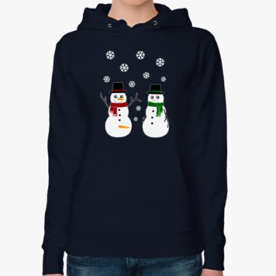 Женская толстовка худи Happy Snowman
