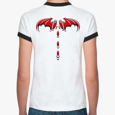 Женская футболка Ringer-T Крылья демона
