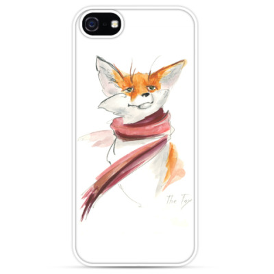 Чехол для iPhone Зимний лис в шарфе