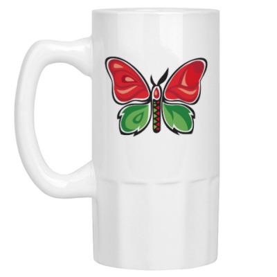 Пивная кружка Бабочка-Метаморфоза