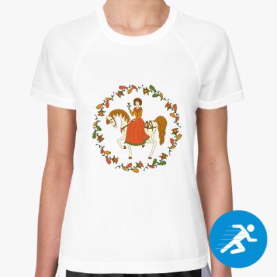 Женская спортивная футболка Russian folk ornament. Girl and horse