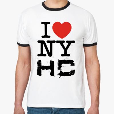 Футболка Ringer-T  I love NYHC