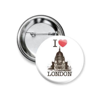 Значок 37мм Я люблю Лондон
