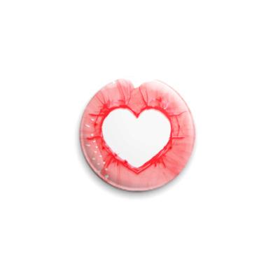 Значок 25мм  'Пустое сердце'