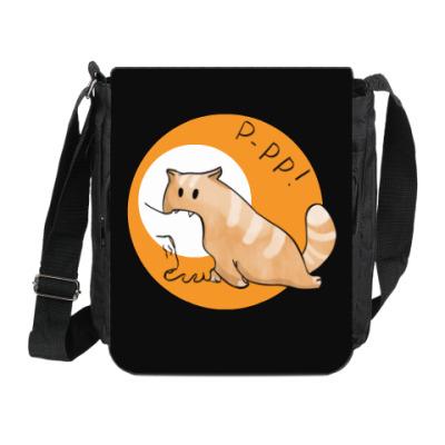 Сумка на плечо (мини-планшет) Кот Мягкот, рыжий живот!