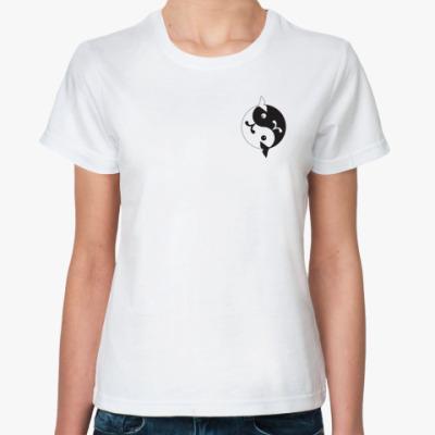 Классическая футболка  'Инь-ян киты'