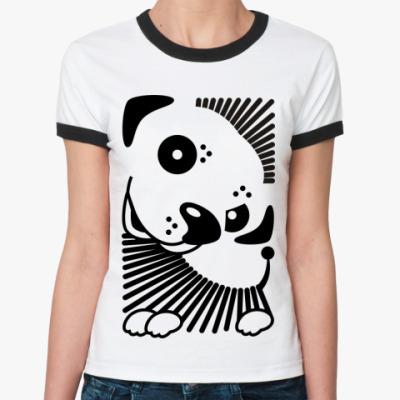 Женская футболка Ringer-T  Собачка