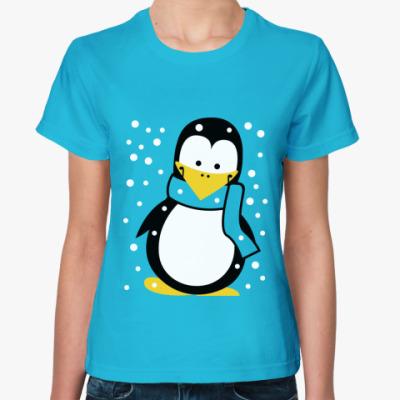 Женская футболка  Зимний пингвин