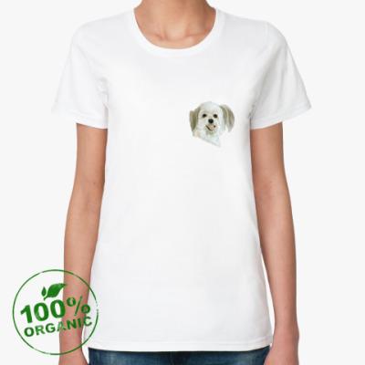 Женская футболка из органик-хлопка white dog