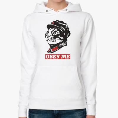 Женская толстовка худи Obey the kitty.