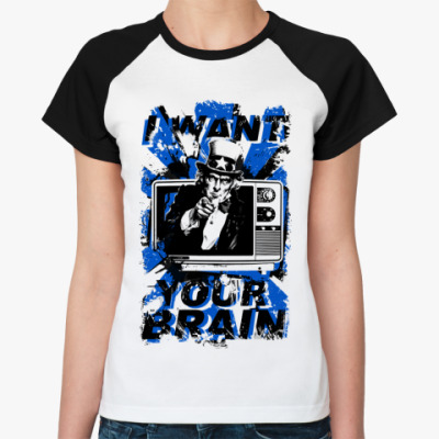 Женская футболка реглан   (бел/чёрн) TV