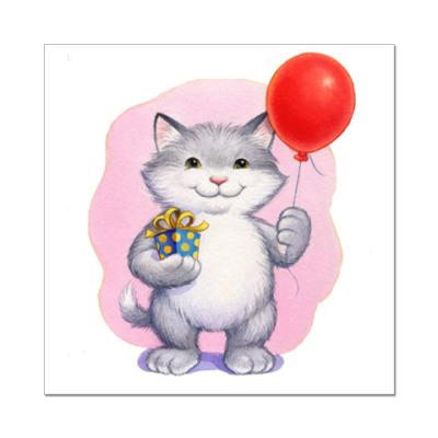 Наклейка (стикер) Кот и воздушный шарик