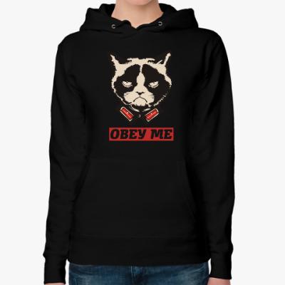Женская толстовка худи Obey the kitty.