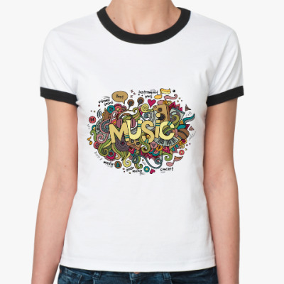 Женская футболка Ringer-T 'Music'