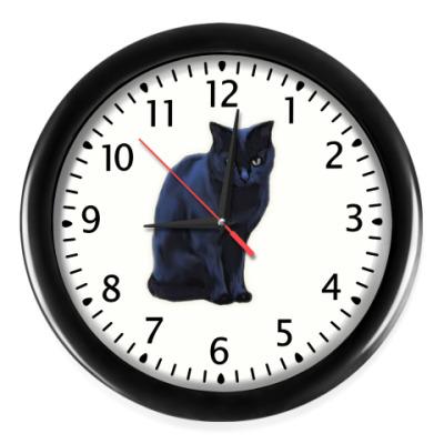Настенные часы Черный кот