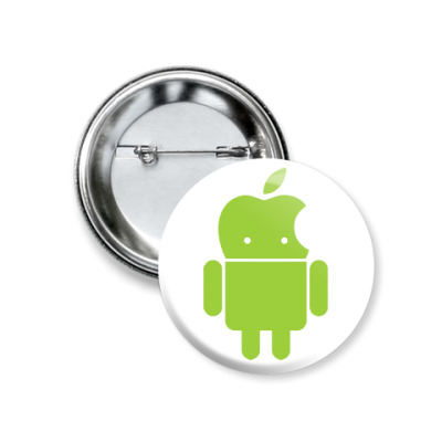 Значок 37мм Андроид голова-яблоко