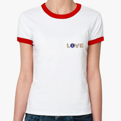 Женская футболка Ringer-T   LOVE SAAB