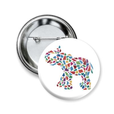 Значок 50мм Слон - мозаика