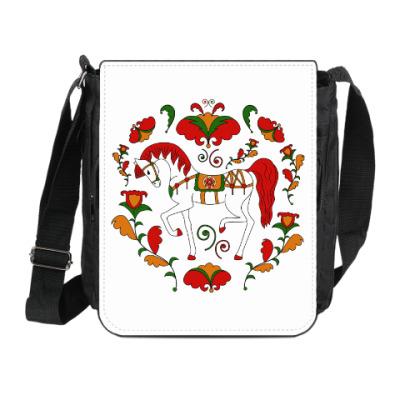 Сумка на плечо (мини-планшет) Борецкая роспись. Лошадь.