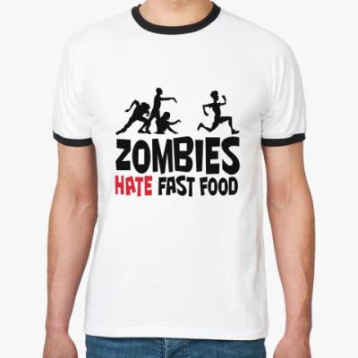 Футболка Ringer-T Zombies hate fast food