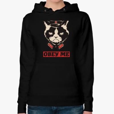 Женская толстовка худи Obey the kitty