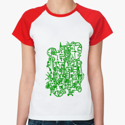 Женская футболка реглан  Organic Faces