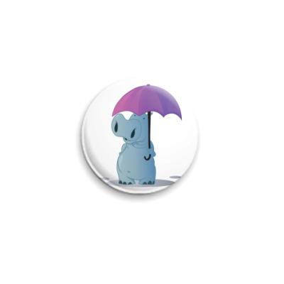 Значок 25мм бегемотик с зонтом