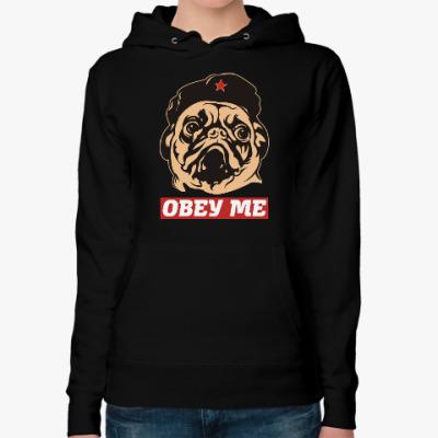Женская толстовка худи Obey the doggy