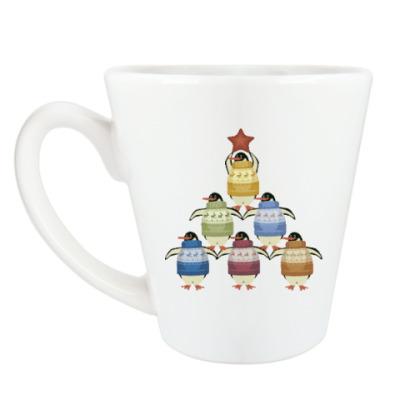 Чашка Латте Новогодние пингвины