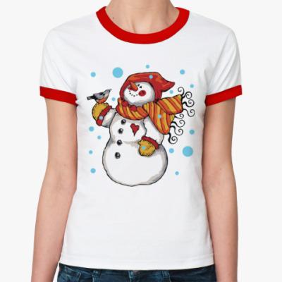 Женская футболка Ringer-T Снеговик и снегирь
