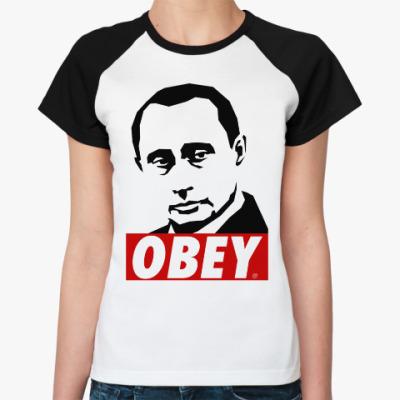 Женская футболка реглан Путин (Стиль Obey)