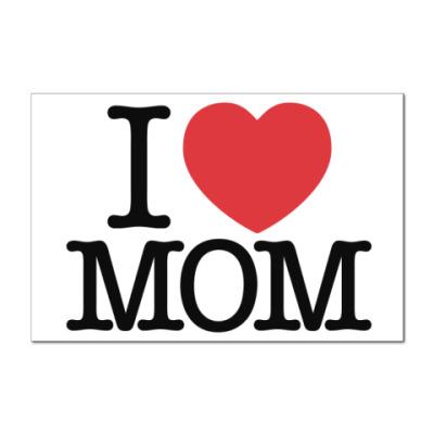 Наклейка (стикер)   I love MOM!