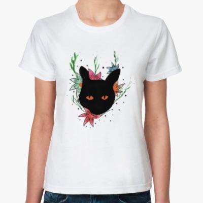 Классическая футболка Сказочный кот в цветах