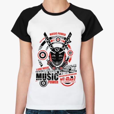 Женская футболка реглан Music   Ж (бел/чёрн)