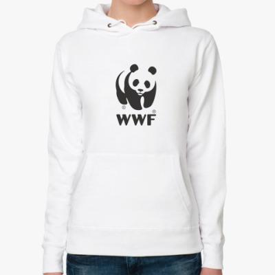 Женская толстовка худи WWF. Панда с лого