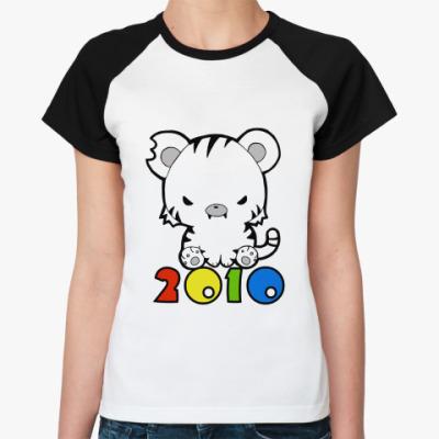 Женская футболка реглан 2010  Ж (бел/чёрн)